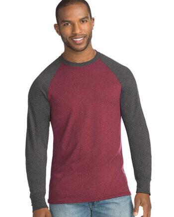 Hanes Mens X-Temp Long Sleeve Colorblock T Shirt