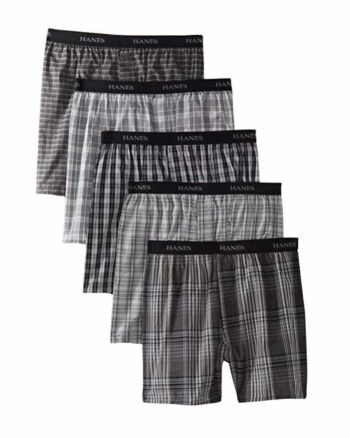 Hanes Classic Men's 5-Pack Yarn Dyed Woven Boxers
