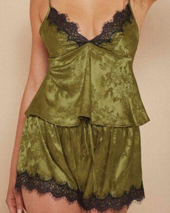 Olive Green Satin Camisole & Shorts Set