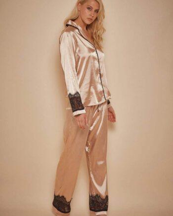 Wolf & Whistle Emmy Eyelash Lace Trim Long Sleeve Pj Set