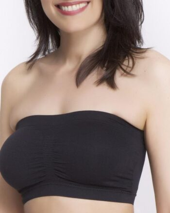 Q-T Intimates Seamless Pullover  Nursing Bandeau Bra with Removable Straps, Black