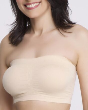 Q-T Intimates Seamless Pullover  Nursing Bandeau Bra with Removable Straps, Nude