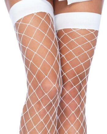 Fence Net Thigh Highs, White