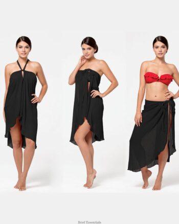 Malibu Beach 3 Way Chiffon Dress, Black