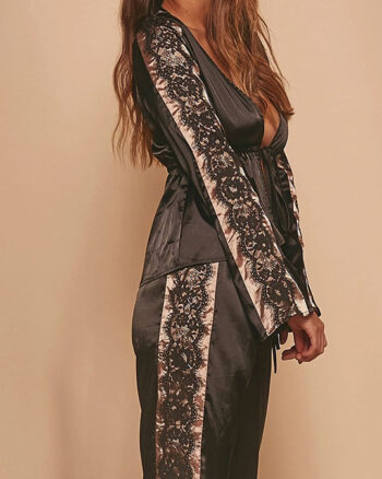 Wolf and Whistle Morgan Satin & Lace Tie Front PJ Set