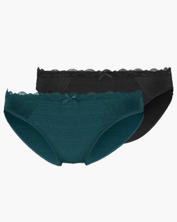 DORINA Paula 2 Pack Briefs, Black/Dark Green