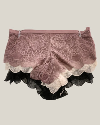 Darling Days Lace Boyshort Pack of 3, Black/Cocoa/Rose