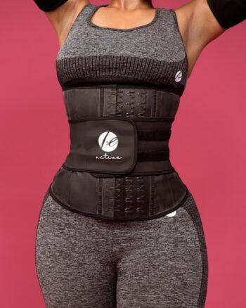 Adjustable Latex Belt with Velcro, Black