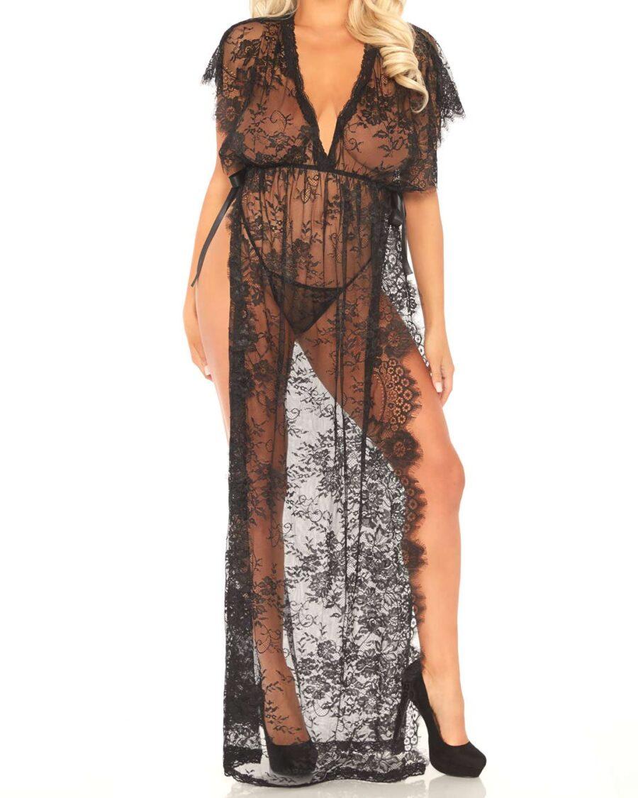 Long Lace Kaftan Set with Side Slits