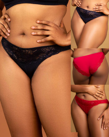 DORINA Angie Pack of 2 Brazilian Lace Briefs, Black/Red