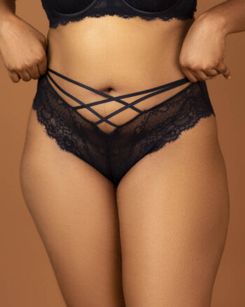 DORINA Diaz Strappy Cheeky Lace Hipster, Black