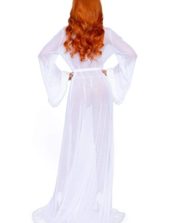 Fur Trimmed Sheer Long Robe & G-String, One Size