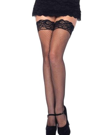 Fishnet Thigh Highs with Backseam & Silicone Lace Top, One Size