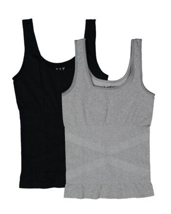 Ribbed Seamless 2 Pack Shaper Tank, Grey/Black